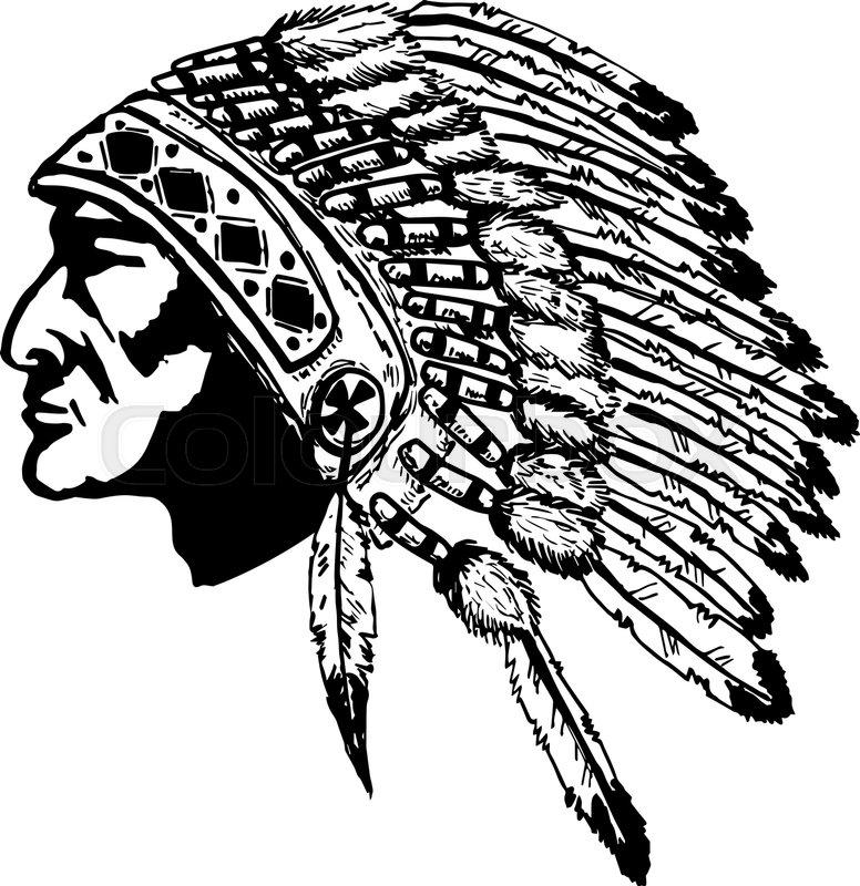 776x800 Native American Chief Head Illustration. Design Elements For Logo
