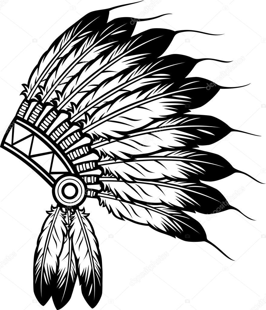 879x1023 Native American Indian Chief Headdress Stock Vector