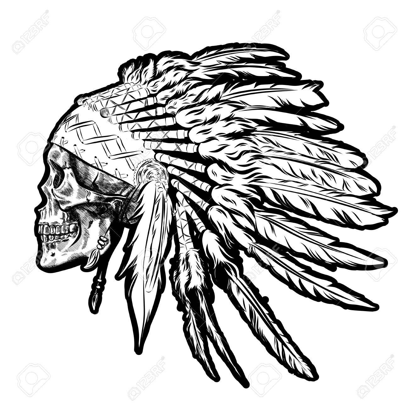 Indian with headdress profile