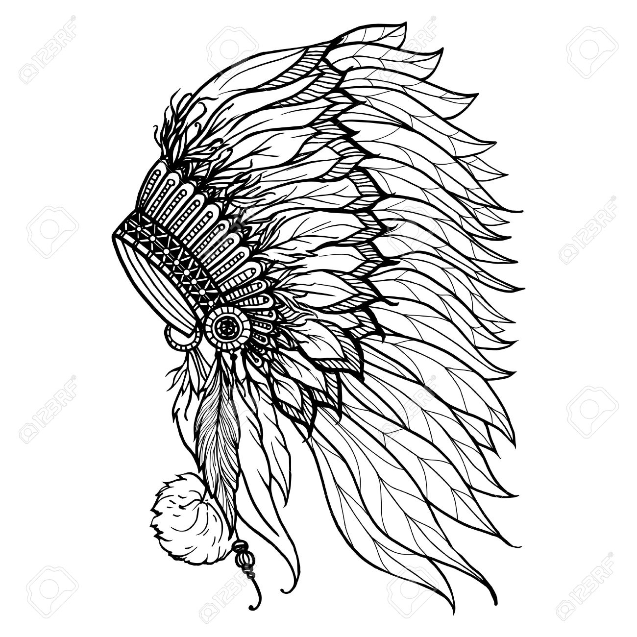 1300x1300 Native American Headdress Drawing Doodle Headdress For Native