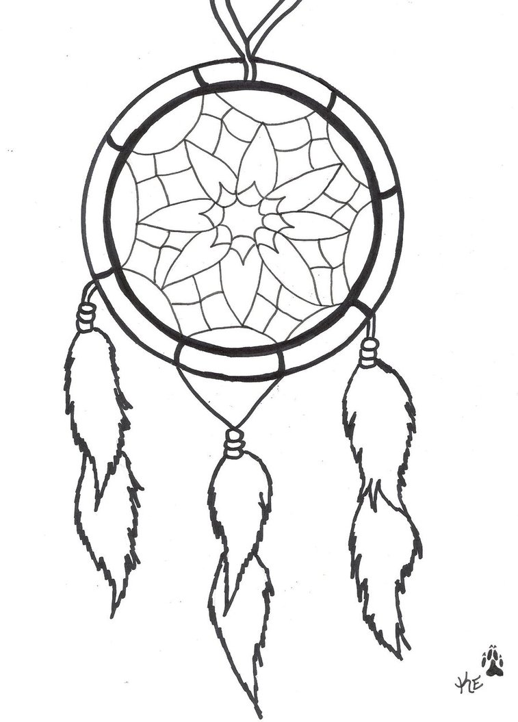 757x1055 Dreamcatcher Coloring Page