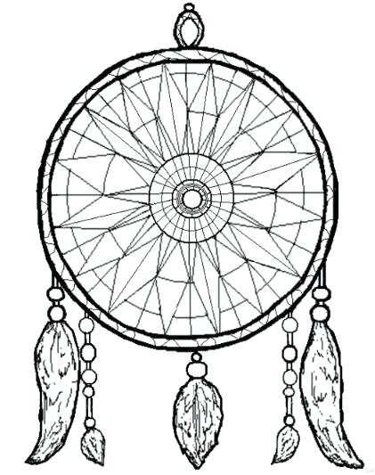 421x533 Dreamcatcher Coloring Pages Native Mandala Simple Dream Catcher