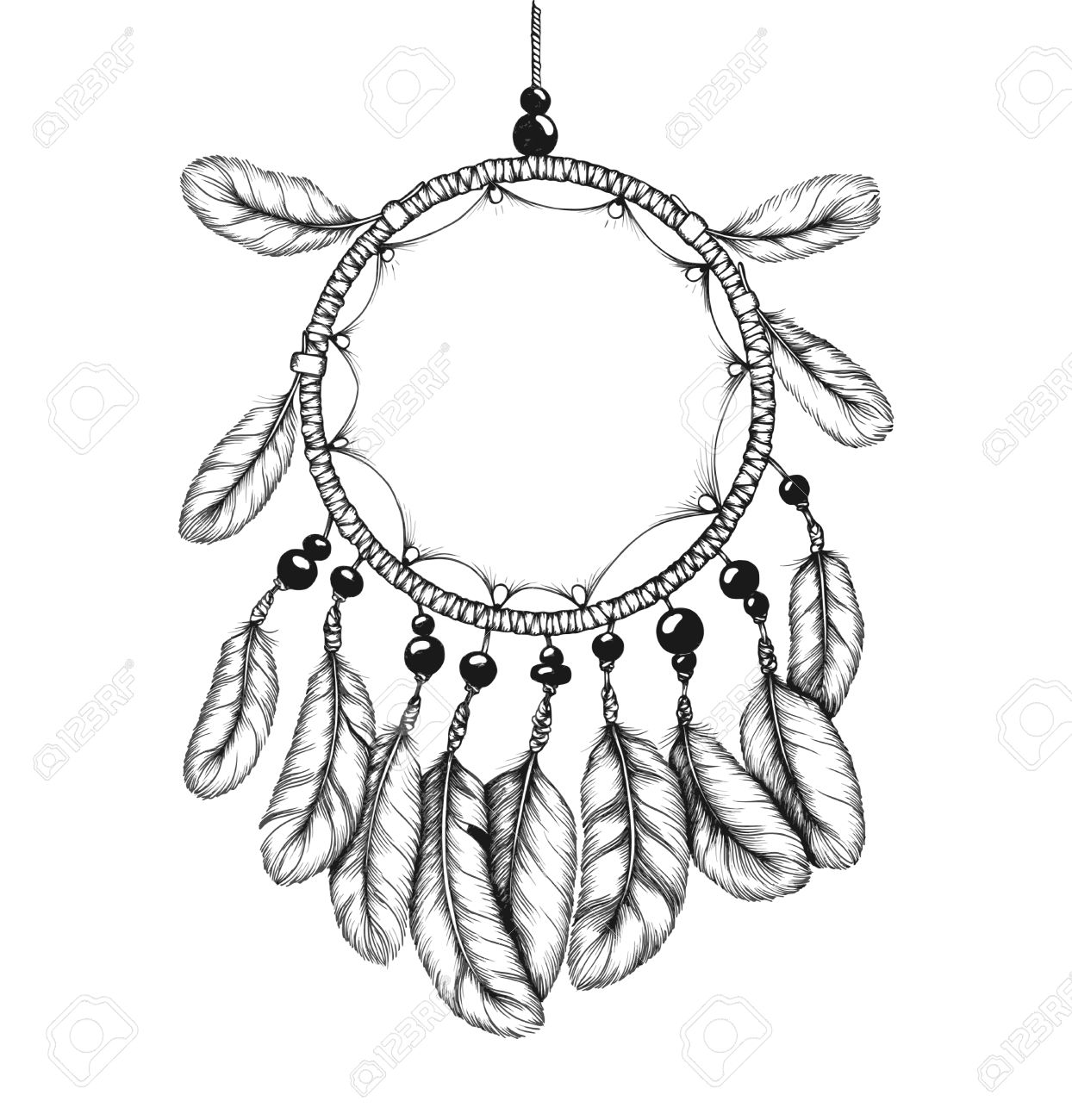 1244x1300 Ethnic Tribal Dream Catcher With Feathers. Native American Style