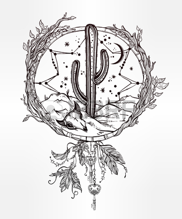 375x450 Hand Drawn Flash Tattoo Style Dreamcatcher With Native American