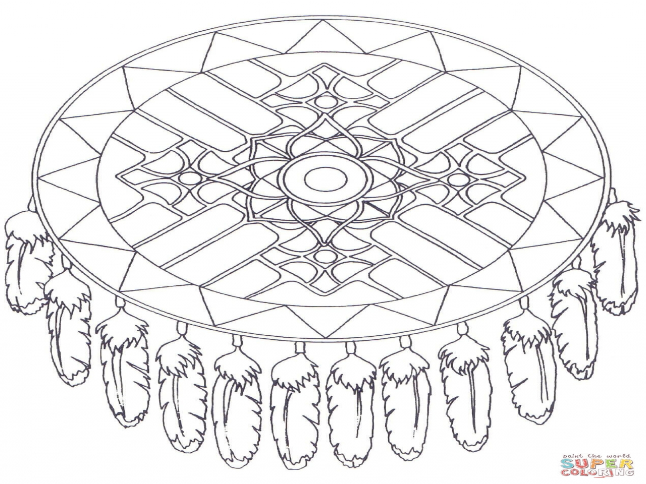 1280x960 Native American Coloring Pages Printable Dreamcatcher Mandala Page