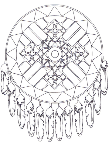 359x480 Native American Dreamcatcher Mandala Coloring Page Free