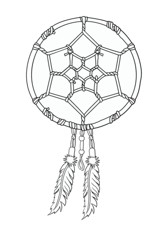 340x480 Native American Dreamcatcher Coloring Page Free Printable