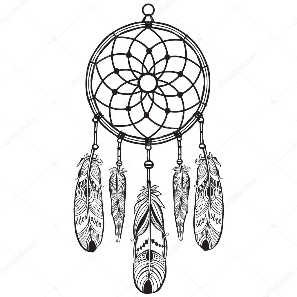 1024x1024 Native American Indian Talisman Dreamcatcher Stock Vector