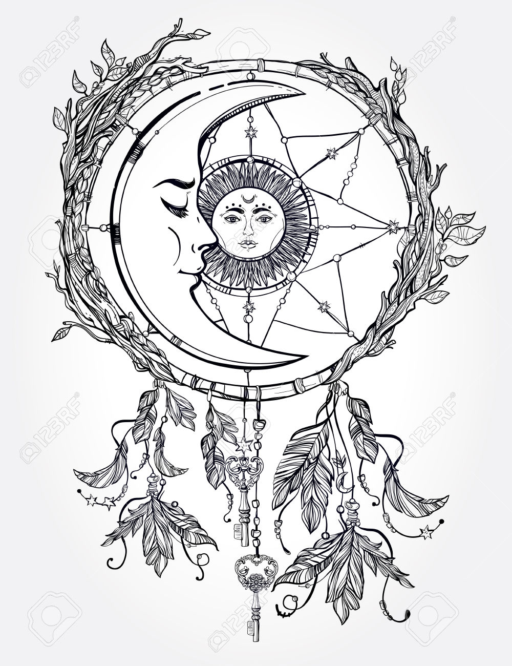 1000x1300 Drawn Dreamcatcher Moon