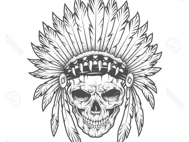 640x480 Native American Skull Tattoo Indian Skull With Feathers Royalty