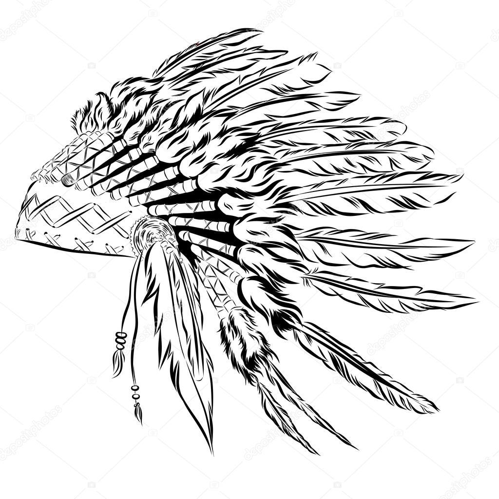 1024x1024 Native American Indian Headdress With Feathers In A Sketch Style