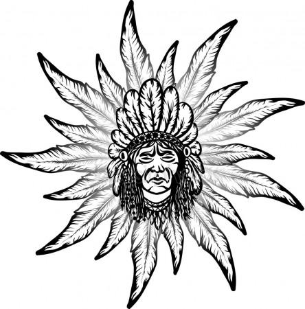 444x450 Native American Man Stock Vectors, Royalty Free Native American