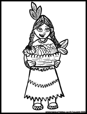 300x394 Thanksgiving Indian Coloring Pages