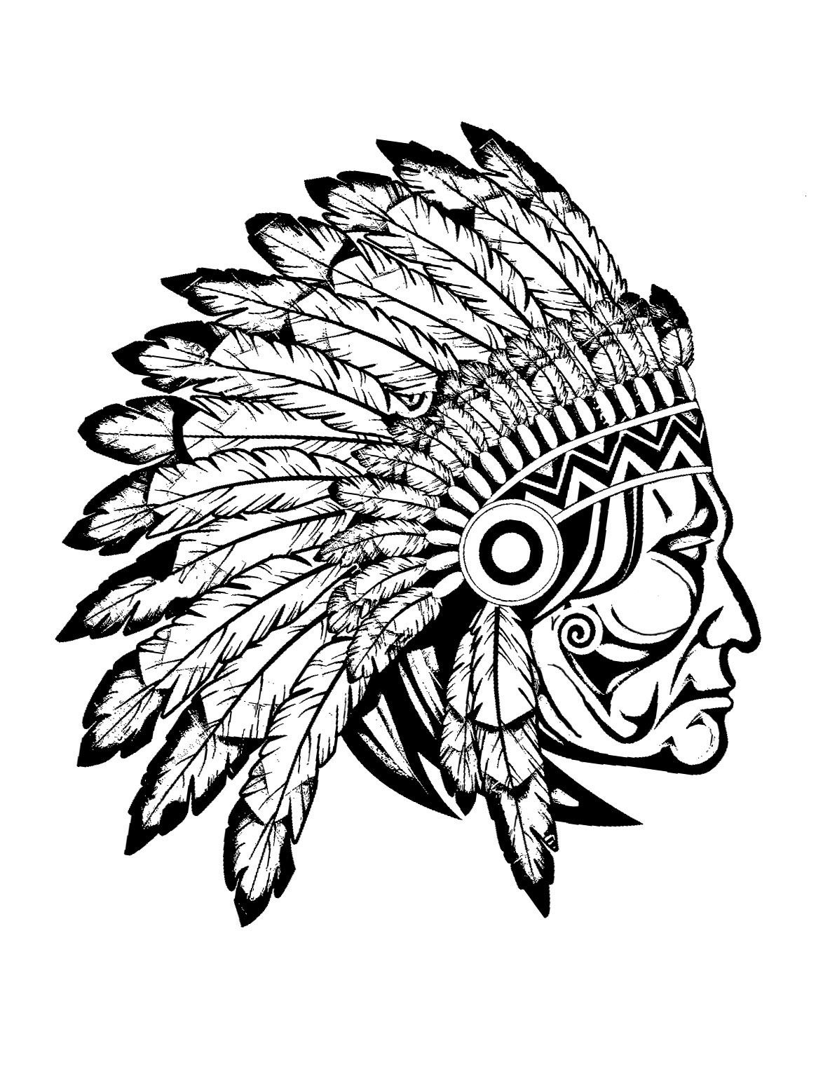 1174x1542 Free Coloring Page Coloring Adult Indian Native Chief Profile