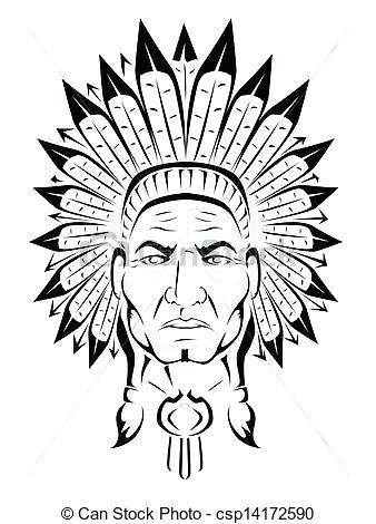 338x470 Indian Headdress Clipart Hand Drawn Native Feather Headdress