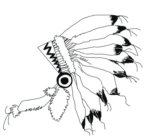 564x536 Indian Headdress Clipart Native Headdress With Feathers In Sketch