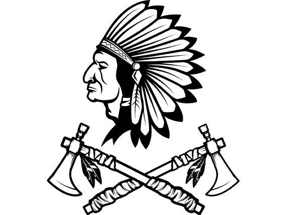570x428 Indian Logo 10 Native American Warrior Tomahawk Axe Headdress