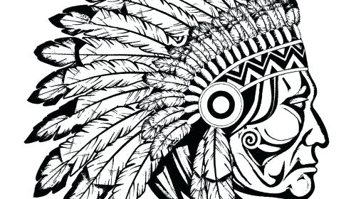500x280 Native American Coloring Pages New Nativ On Vector War Bonnet