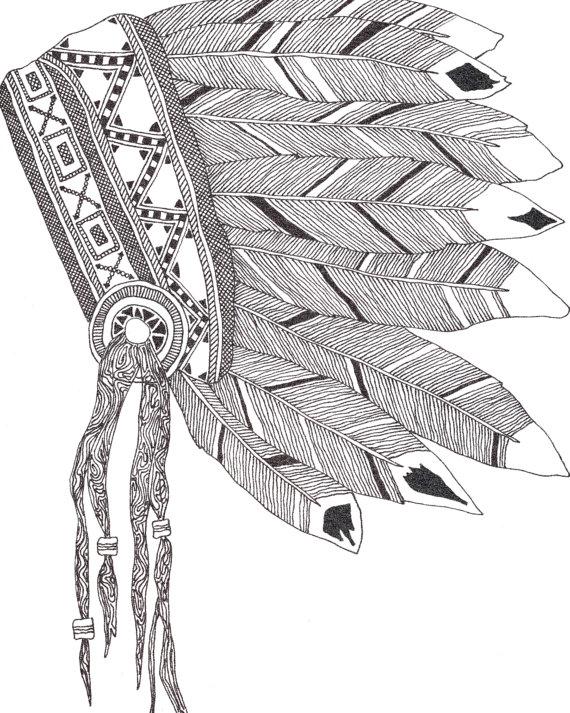 570x713 Native American Headdress Print. Doodle Headdress