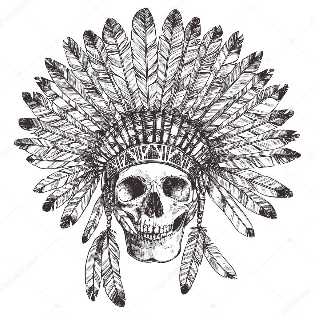 1024x1024 Native American Indian Headdress With Skull Stock Vector