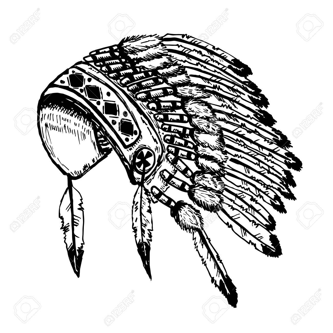1299x1300 Native American Indians Chief Headdress Isolated On White