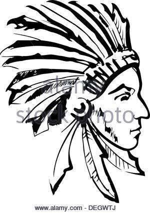 300x426 Sketch Of Tattoo Art, Portrait Of American Indian Head Stock Photo