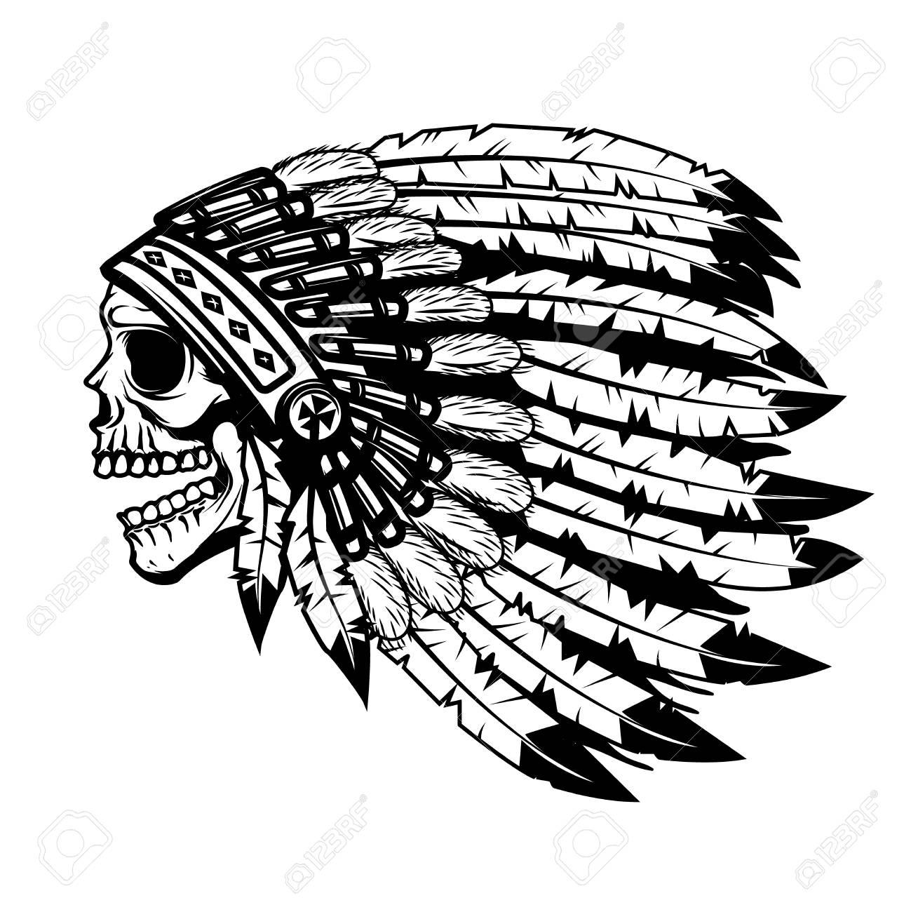 1299x1300 Skull In Native American Indian Chief Headdress. Design Element