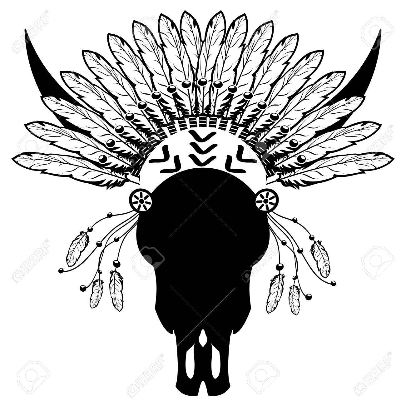 1300x1300 Warrior Style Wild Animal Skull With Tribal Headdress With Plain