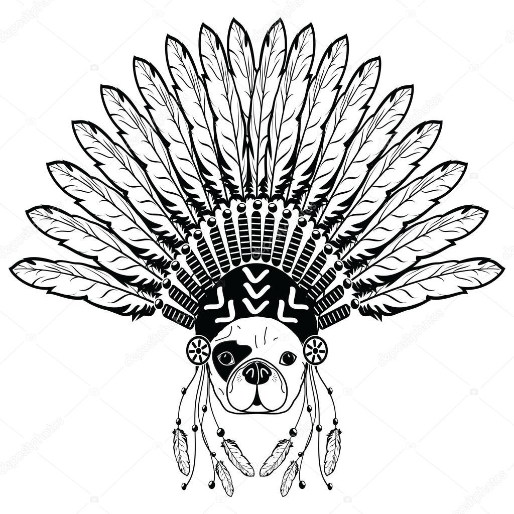 1024x1024 Warrior Style French Bulldog With Tribal Headdress With Plain