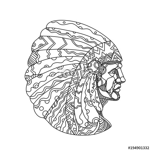 500x500 Doodle Art Illustration Of A Native American, American Indian