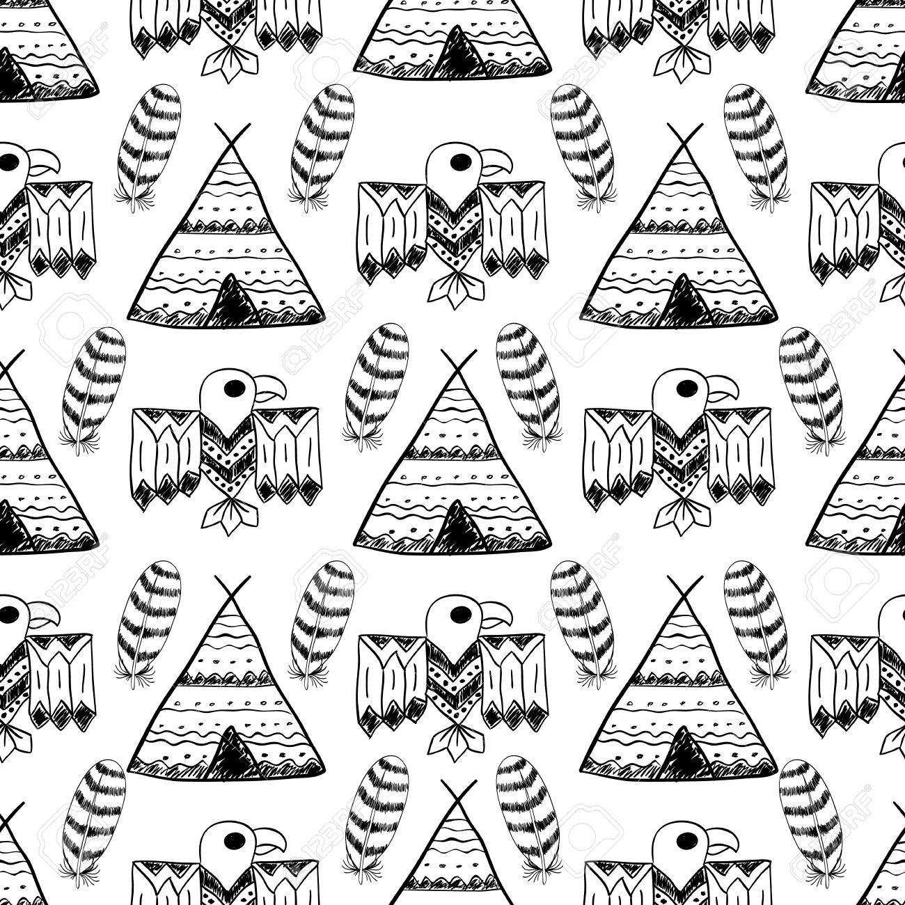 1300x1300 Native American Seamless Pattern With Different Tribal Symbols