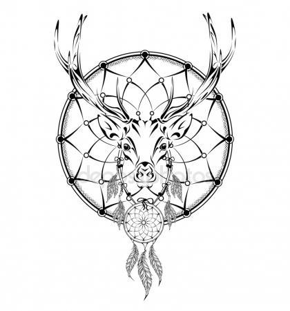 420x450 Deer Indian Warrior, Animal Hand Drawn Illustration, Native