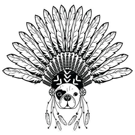 450x450 Warrior Style French Bulldog With Tribal Headdress With Plain
