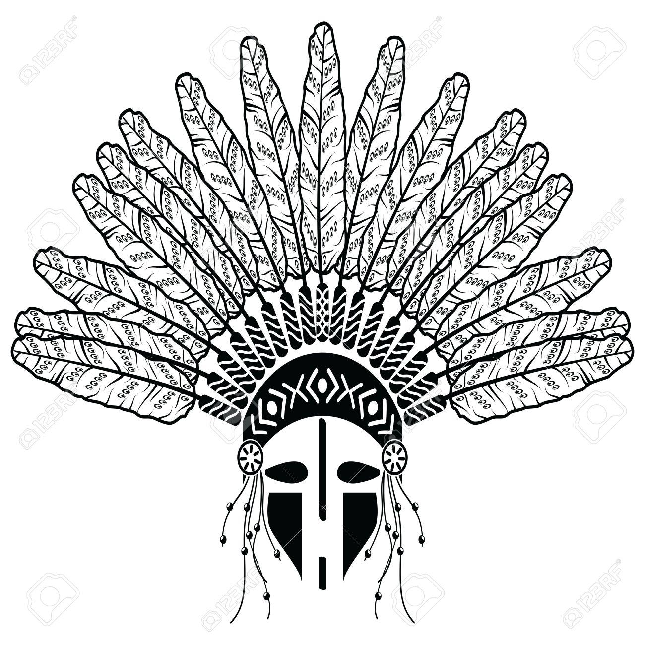 1300x1300 Aztec, Ethnic Style Headdress With Plain Feathers, Beads