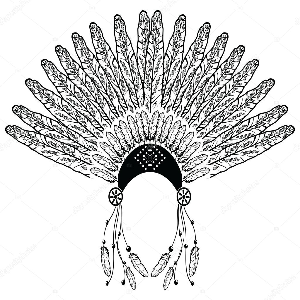 1024x1024 Aztec, Ethnic Style Headdress With Decorative And Plain Feathers