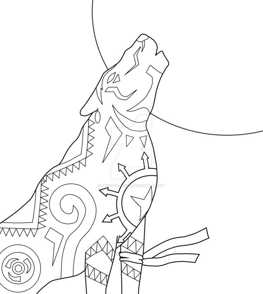 844x946 Native American Wolf