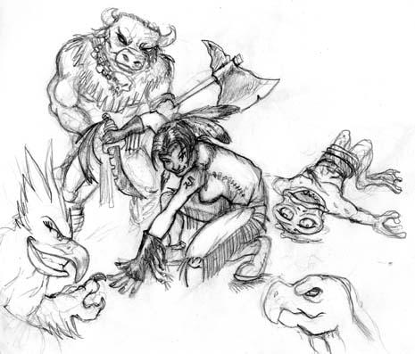 465x397 Drawn Warrior Indian