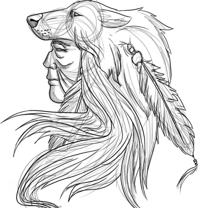 800x838 Impressive Designed Black And White Indian Tattoo With Wolf Helmet