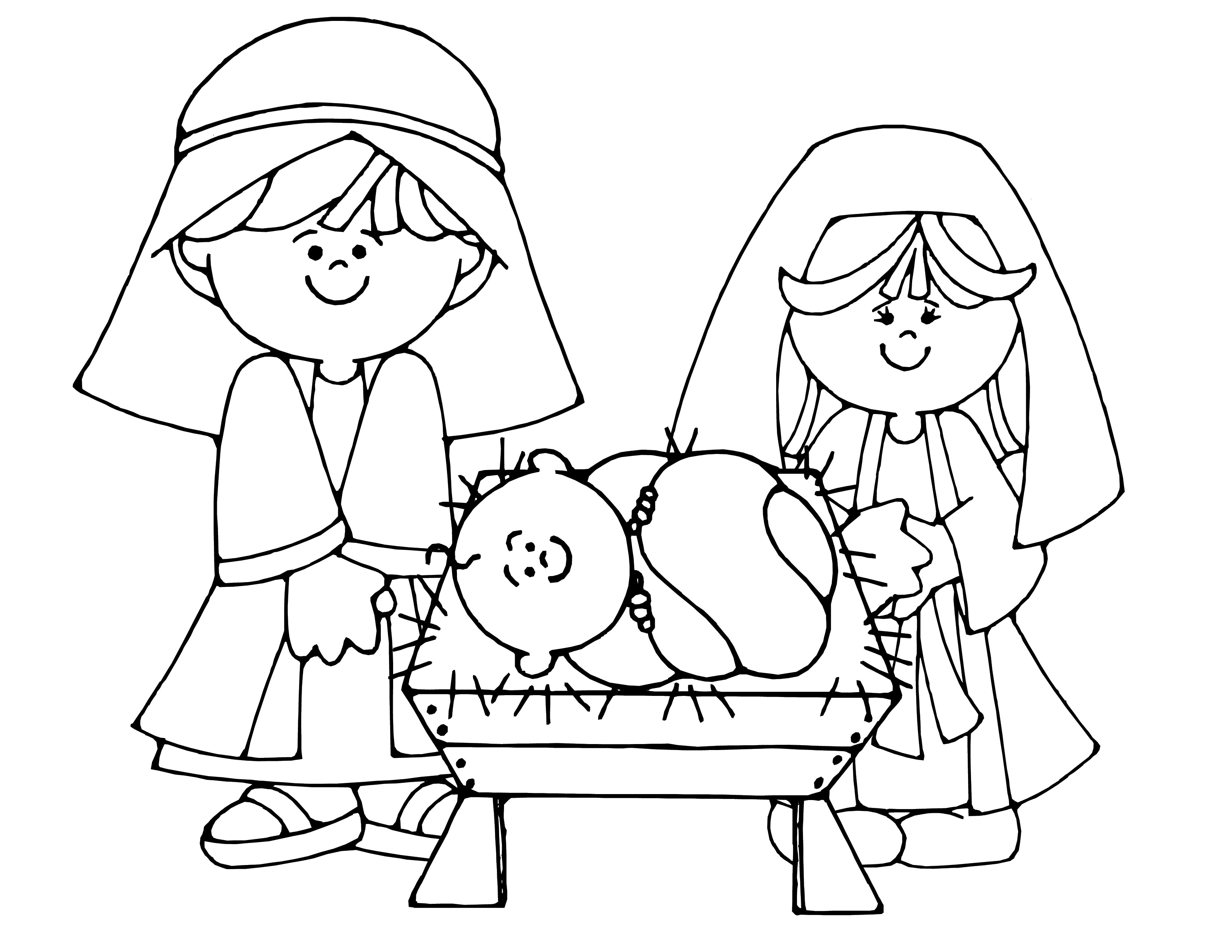 3300x2550 Nativity Coloring Page Free Draw To Color