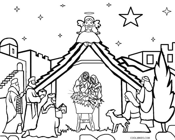 600x480 Nativity Scene Coloring Pages Preschool For Cure Draw Paint Kids