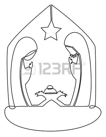 349x450 Nativity Scene With Holy Family One Line Drawing Royalty Free