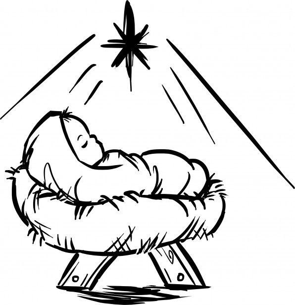 596x615 Baby Jesus Krippen Szene Kostenloses Stock Bild