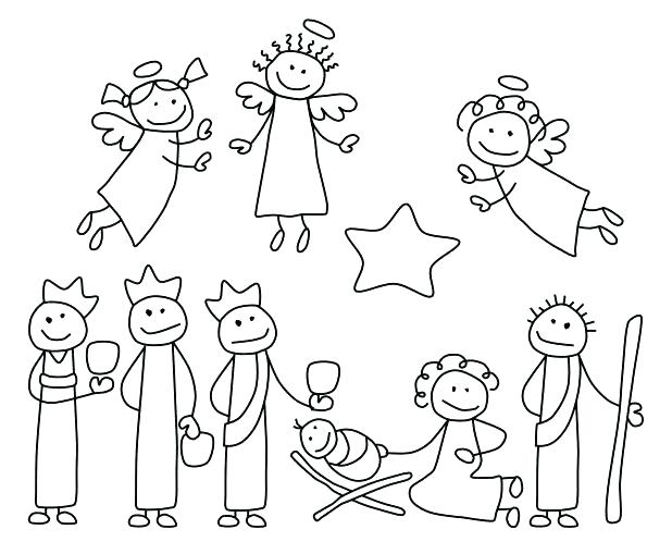 618x509 Printable Nativity Scene Coloring Pages X Printable Christmas