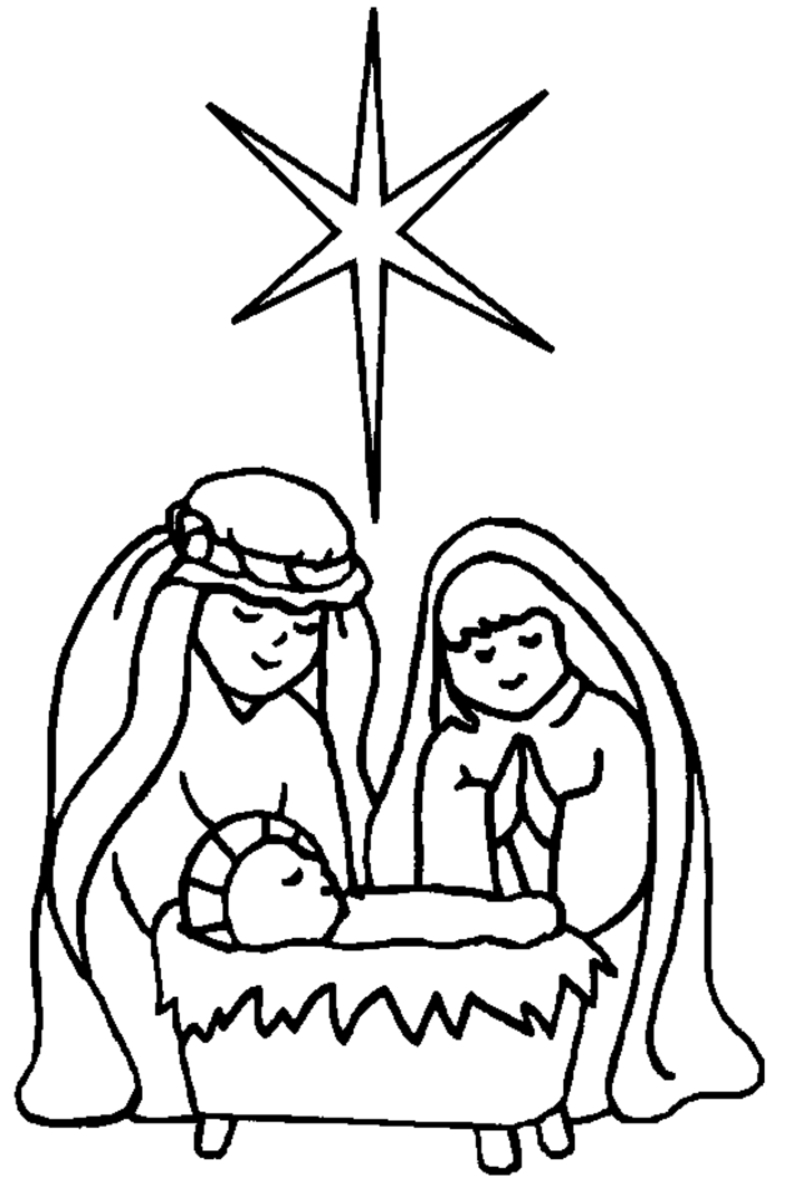 812x1178 Simple Nativity Scene Drawing Nativity Scene Coloring Pages
