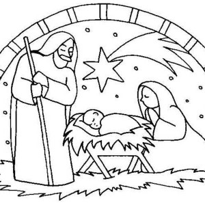 300x300 Kids Drawing Of Jesus In Nativity Coloring Page