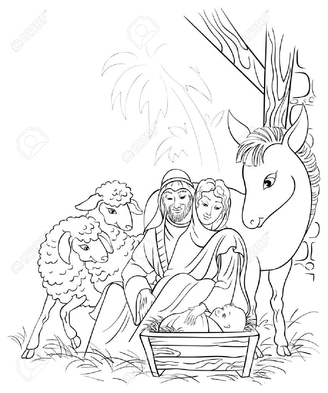 nativity line drawing at getdrawings  free download
