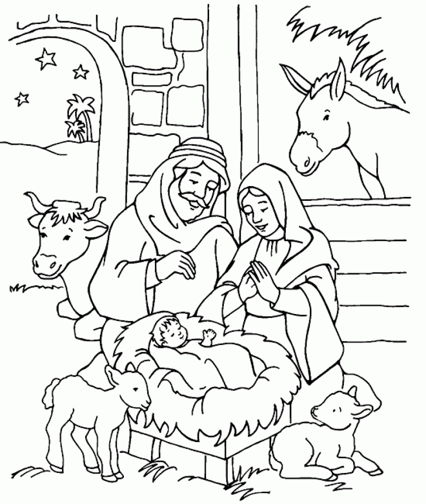 866x1024 Coloring Pages Printable Manger Scene Nativity Coloring Pages