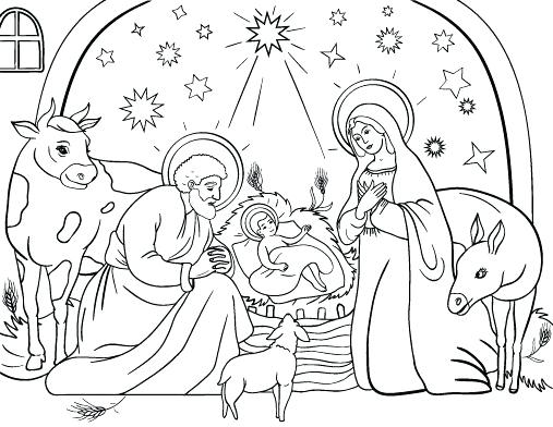 507x392 Nativity Scene Coloring Pages Pdf Free Printable For Kids Best