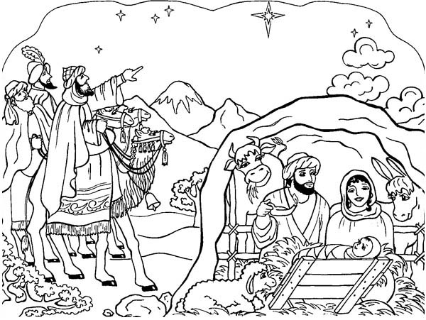 600x451 Awesome Nativity Scene Coloring Pages 61 For Line Drawings