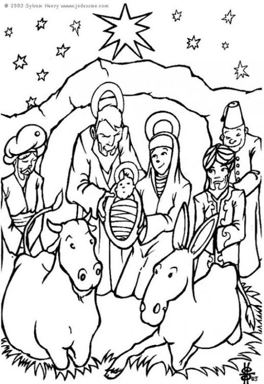 517x750 Coloring Page Nativity Scene